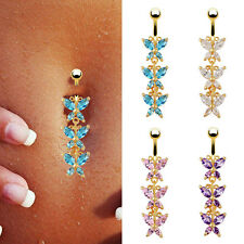 18K Gold Plated Crystal Rhinestone Bar Belly Navel Ring Dangle Butterfly Jewelry