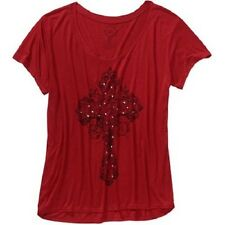 NEW Project Karma Women's Hi-Low Graphic Tee Red Cross Short Sleeve Rayon L
