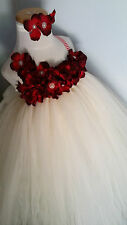 flower girl tutu dress ivory dress you pick flower color wedding photo party