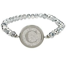 QVC Steel by Design Crystal Initial Stretch Bracelet One Size Fits All