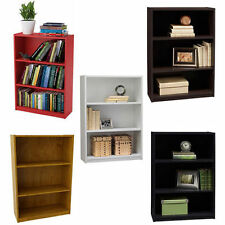Bookcase 3 Shelf White Storage Bookshelf Wood Furniture Adjustable Book Shelving