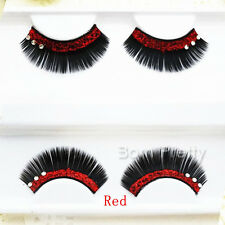 Glitter Rhinestone Pattern Party False Eyelash Kit Long Thick Stylish Eyelash