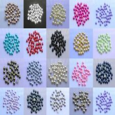 Pretty 100pcs 8mm plastic Pearl Bead Flat Back Scrapbook Craft Flatback Beads