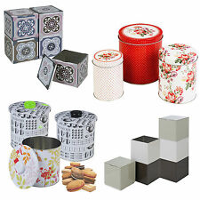 Assorted Metal Storage Tins Coffee Tea Sugar Dry Food Stackable Kitchen