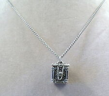 Pewter Prayer Box Pendant on a Link Chain Necklace -5017