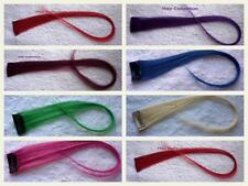 "18""Purple,Blue,Red,Pink,Blond,Green Human Hair Clip On Extensions for Highlights"