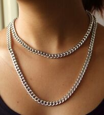 "7MMX9MM Shiny CUT Silver Plated Chunky Aluminium Curb Chain Necklace 18"" 24""38"""