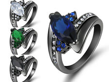 Fashion Size 6,7,8,9 Emerald Sapphire Black Gold Filled Woman's Wedding Rings
