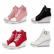 Fashion Women Shoes Canvas High Top 7.5cm Wedge Heel Lace Up Fashion Sneakers