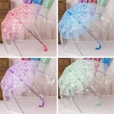 New Lady Elegant Floral Parasol Transparent Umbrella Long-handled Cage Umbrella