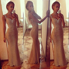 Long Sequins Dress Bridesmaid Formal Gown Ball Party Cocktail Evening Prom Dress
