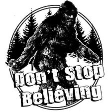 Big Foot T-shirt Don't Stop Believing Sasquatch funny cool 80's cotton tee