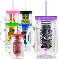 Babz 3 x Fruit Infusion Mason Jam Jars Drinking Jar Bottle and Straw 500ml