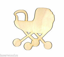 Baby Buggy Unfinished Wood Shape Cut Out BB2003 Crafts Lindahl Woodcrafts