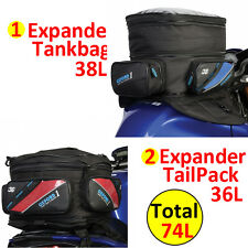 Oxford 1st Time Motorbike Motorcycle Luggage Expander TailPack + Tank Bag 74L