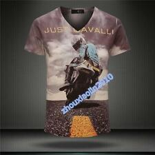 Fashion Men's Just racing Casual Cotton V-Neck Cavalli Short sleeve Tee T-Shirt