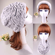 Women's Fur Knitted Warm Magic Hats Scarfs Winter Oversize Cute Caps Beanie New