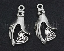 10/40/200pcs Tibetan Silver Hand Love Jewelry Finding Charms Pendant 30x15mm