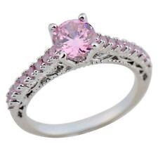 Pink Sapphire Band Women's Gift 10KT White Gold Filled Engagement Ring Size 6-10
