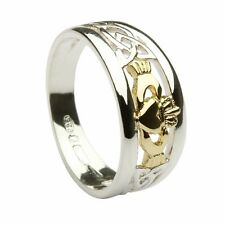 Silver and 10ct Yellow Gold Irish Celtic Claddagh 8mm Band Ring Made In Ireland