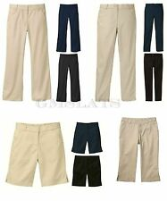 New George Girls' Flat Front Shorts Pants Capri School Uniform Beige Navy Black