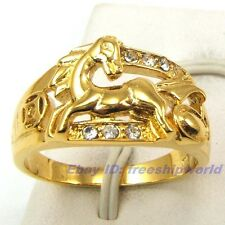 Size 8,9,10 Ring RARE RARE HORSE 18K YELLOW GOLD GP GEMSTONE UK P,R,T SOLID FILL