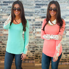 Fashion Womens Long Sleeve Lace Tops O Neck Summer Casual Shirt Tops Blouse