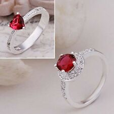 FASHION RED SWAROVSKI CRYSTAL SILVER RING SIZE 8 JEWELRY