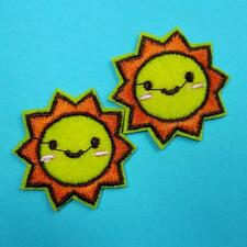 2 Smile Sun Iron on Sew Patch Applique Badge Embroidered Biker Applique Cute Lot
