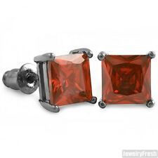 Black and Red CZ Unique Square Stud Earrings