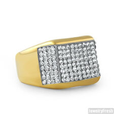 14K Gold IP Czech Crystal Stainless Steel Mens Ring