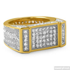 18k Gold Plated Lab Made Flat Bar 360 Iced Out Mens Ring