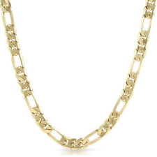 9mm 14k Gold Plated Italian Figaro Chain Mens Necklace