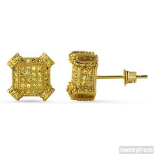2.10 CTW Cubic Zirconia Canary Gold Cube Earrings
