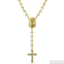 Mens Gold Jesus Face Cross Links Iced Out Rosary Necklace