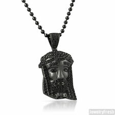 Black Iced Out Mini Jesus Piece Head Pendant With Chain