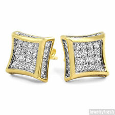 Full Iced Out Mens CZ Gold Kite Earrings High Quality