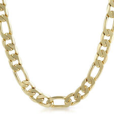12mm Large Mens 14K Gold Plated Figaro Chain Necklace