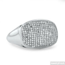 Oval Micropave Silver Genuine Diamond Mens Ring 0.57 CTW