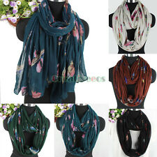 Stylish Women's Feather Print Soft Long Scarf/Infinity Loop Cowl Circle Scarf