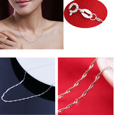 "1PC Exquisite  Fashion  Silver Plated ""Water Wave"" Necklaces Link Chain"