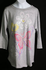 TOTAL GIRL GIRLS PLUS SIZE SHIRT L OR XL WITH BUTTERFLIES AND HEARTS NWT