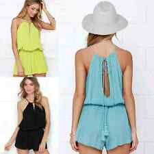 Sexy Lady Vneck Open Back Empire Hot Shorts Cocktail Beach Party Romper Jumpsuit