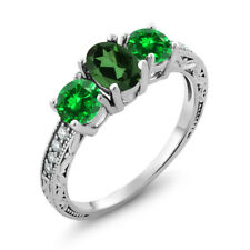 2.60 Ct Emerald Envy Mystic Topaz Green Simulated Emerald 14K White Gold Ring