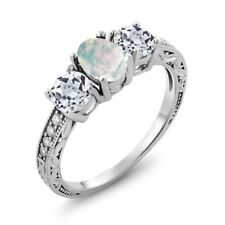 1.75 Ct Oval Cabochon White Simulated Opal White Topaz 18K White Gold Ring