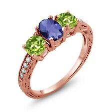 1.77 Ct Oval Checkerboard Blue Iolite Green Peridot 14K Rose Gold Ring