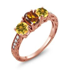 1.72 Ct Oval Orange Red Madeira Citrine Yellow Citrine 14K Rose Gold Ring