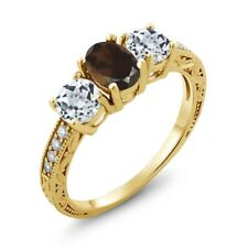 1.87 Ct Oval Brown Smoky Quartz White Topaz 18K Yellow Gold Plated Silver Ring