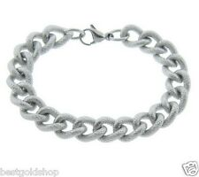 QVC Textured Curb Link Bracelet Stainless Steel by Design QVC J279100 FREE SHIP