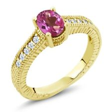 1.35 Ct Oval Pink Mystic Topaz White Created Sapphire 18K Yellow Gold Ring